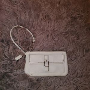 Coach Leather Wristlet Purse - White